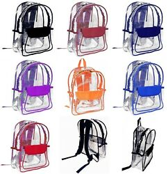 Vinyl Clear Transparent Backpack School Security Travel Sport Events Heavy Duty