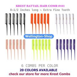 Krest Cleopatra 8-12 inch Rattail Combs Extra Fine Tooth Hair Stylist barbers $7.99