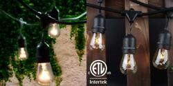 Lemontec Commercial Grade Outdoor String Lights with 15 Hanging Warm White