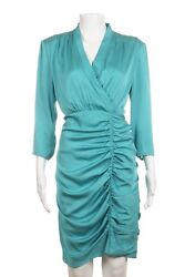 NWT CATHERINE MALANDRINO Dress 12 Petite Silk Blend Blue Ruched Cocktail 12P $35.00