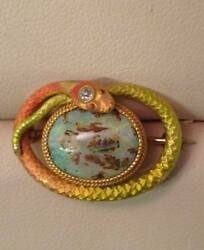 Vintage Krementz & Co. Opal Diamond Snake Enamel Gold Brooch