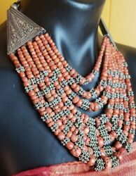 Exquisite rare old vintage necklace from Yemen Silver and old Coral beads.