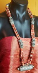 Rare find old necklace from Yemen Silver capsule pendant and old Coral beads.