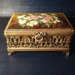 Limoges enamels decor of Flowers Rare Jewelry box by CAMILLE FAURE France