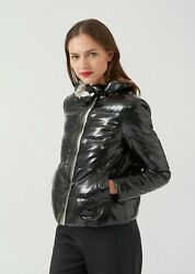 Emporio Armani Women's Vinyl Quilted Jacket with Croc print Size 6