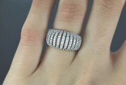 $2150 14K White Gold 0.50ct Round Diamond Twisted Cable Design Ring Band Size 6