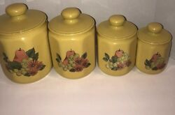Vintage Kromex Yellow Faceted Aluminum 4 Canister Set Fruit And Floral Design