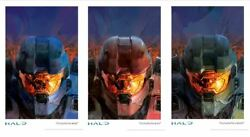 Halo Reach Evolutions Blue Red Green Fine Art - See Reflections in Helmet Visors