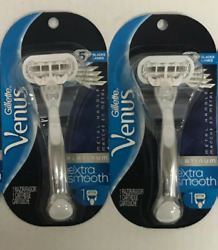 2 GILLETTE VENUS Platinum Extra Smooth Women#x27;s Shaver Razor Blade METAL Handle $15.99