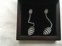 £50000 Tejori Dubai 18k 750 18ct Gold Black White Diamond Drop Earrings 4.55ct