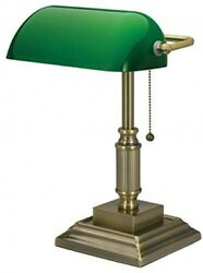 Home Desk Vintage Traditional Style Banker Desk Lamp With Green Glass Shade