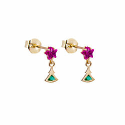 9ct Gold Christmas Tree Emerald Green Ruby Red Star CZ Stud Drop Earrings