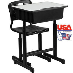 USA Adjustable Students Desk Density Board & computer table Children Chairs
