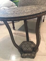 Wooden Mosaic Marquetry Syrian Round Table Handmade Inlay