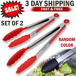 2 Stainless Steel Kitchen Tongs Food Serving BBQ Cooking Non-Stick Silicone Tip