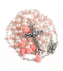 Nazareth Store Catholic cross Pink Pearl Beads Rosary Necklace Our Rose...