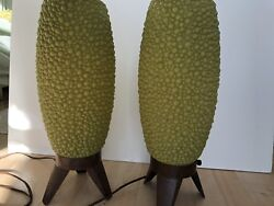 VTG Pair MID Century Modern Green Bubble Beehive Plastic Tripod Lamp $495.00