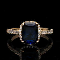 3.00 CT Halo Radiant Blue Sapphire & Created Diamond Ring Solid 14K Yellow Gold