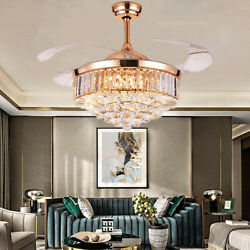 42inch Remote Invisible Ceiling Fan LED Crystal Chandeliers Pendant Ceiling Lamp $209.69