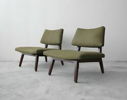 Pair of Mid Century Walnut & Leather Slipper Lounge Chairs by Jens Risom