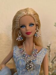Handmade Jewelry for Barbie Iridescent Pendant and Crystal Necklace And Earrings