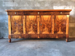 Antique and Elegant Charles X Sideboard in Walnut and Walnut Feather - Restored