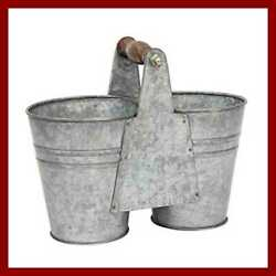 Small Antique Galvanized Metal Double Bucket W Wooden Handle Country Rustic Farm