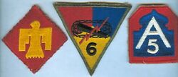 Three Vintage US ARMY patches (9th Armored 45th Division 5th Army)