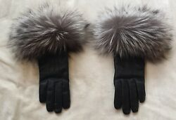 ESCADA SILVER FOX FUR AND LEATHER GLOVES CASHMERE LINING ~ SIZE 7 12 ~