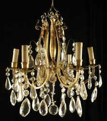 Antique bronze and glass French chandelier Decorated with five mitological image