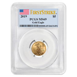 2019 $5 American Gold Eagle 110 oz. PCGS MS69 First Strike Flag Label