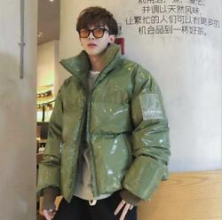 Mens Trend Winter New Stand Collar Loose Warm Bright Leather Fabric Cotton Coats $47.99