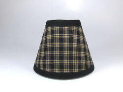 Country Primitive Black Sturbridge Plaid Fabric Chandelier Lampshade Lamp Shade $15.99