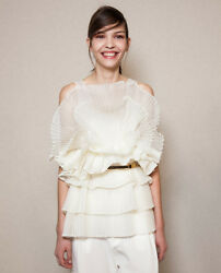 "Chloe Silk Organza Ruffle Top in ""Milk"" White Size 34 0 2 XS - MSRP $2695"