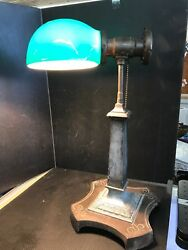 Antique Emeralite Desk Bankers Lamp Green Glass Shade SB11 $499.99