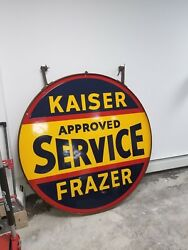 1940s 1950s KAISER FRAZER 2 SIDED PORCELAIN SIGN BEAUTIFUL CONDITION WITH HOLDER