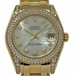 Rolex Datejust 81358 34mm Masterpiece Yellow Gold MOP Diamond 2005 2YrWTY #558-1