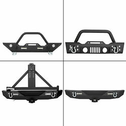 Rock Crawler Front Rear Bumper Winch Plate LED D-Ring For 07-18 Jeep Wrangler JK