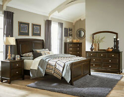 LANSING Traditional Brown Bedroom Furniture - 5pcs Queen or King Sleigh Bed Set