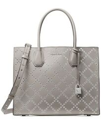 MICHAEL KORS Mercer Grommeted Leather Large Tote Color-Pearl Grey