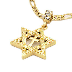Mens 14k Gold Plated Star of David Cross Pendant 24quot; inches Figaro Chain $13.99