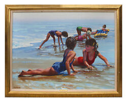 BEHRENS Howard  American 1933-2014 Children Playing at the Beach Oil on Canvas