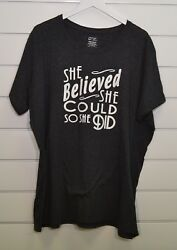 SHE BELIEVED SHE COULD SO SHE DID Women's T-Shirt crew neck dark heather 4XL