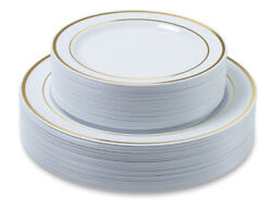 Premium Party Disposable Plastic Plates 60-set Gold Trim - Bulk- ACK $18.88