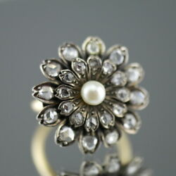Antique 18ct gold ring with beautiful flower of pearl and old cut diamonds clust
