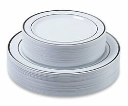 Premium Dinner Wedding Disposable Plastic Plates 60-180 pieces-SilverGold  $18.88