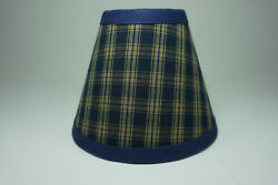 Country Primitive Navy Sturbridge Plaid Fabric Chandelier Lampshade Lamp Shade $14.99