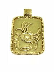 Vintage Fred 18k Yellow Gold Cancer Zodiac Pendant Sign Circa 1970's