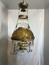 DATED 1892 VICTORIAN HANGING PARLOR OIL LAMP WITH PRISMS amp; AMBER HOBNAIL SHADE $795.00