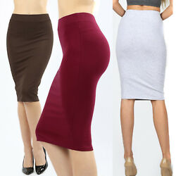 Womens Pencil Skirt Cotton Stretch Elastic Waist High Waisted Knee Length Office $9.95